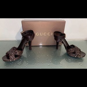 Gucci Brown Leather Braided Sandals Size 37.5 7.5
